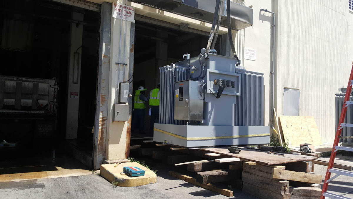 Offloading of transformer and moving into room