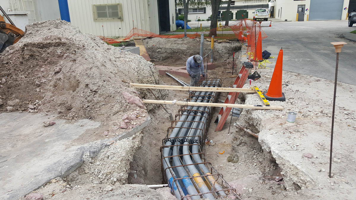 underground duct bank from electrical room to transformer