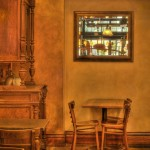 """Print Open First Place, Donna Colville, """"Morning at Book End Cafe"""""""