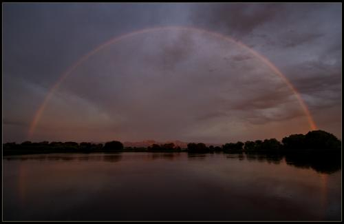 Extremely rare morning rainbow, Teller Lake, Boulder County Open Space.