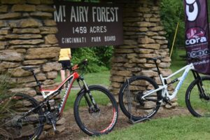 Bikes in front of the Mt. Airy Park sign