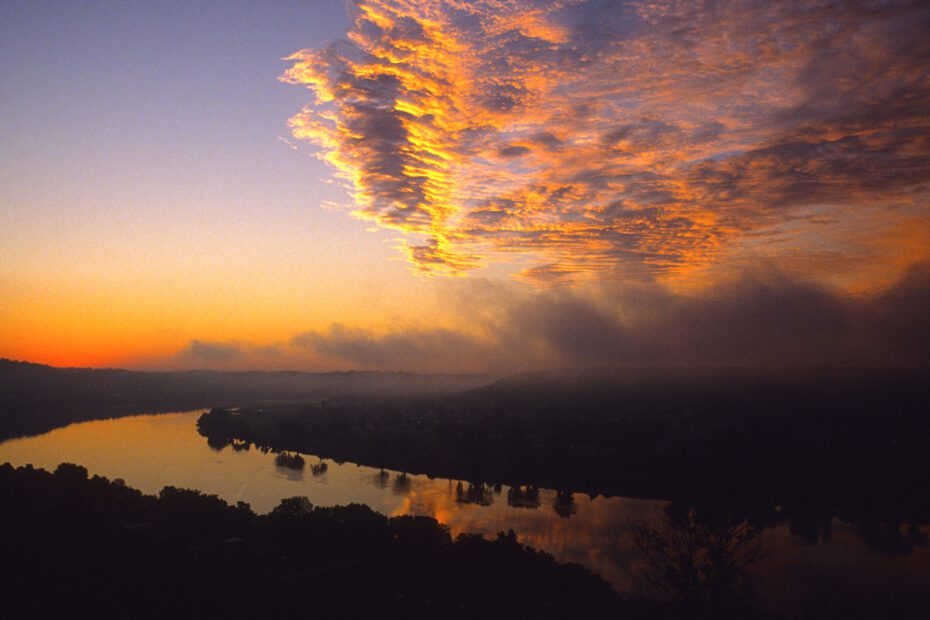 A sunset over the Ohio River