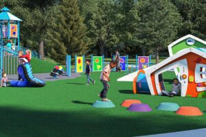 Rendering of children playing in playground playhouses and jumping pads.