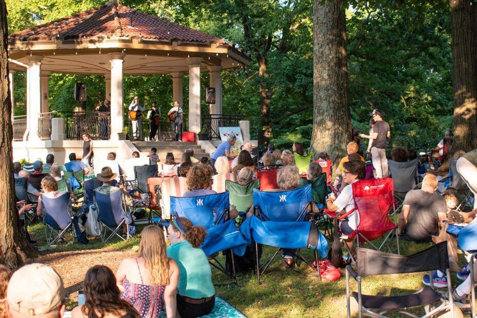 A crowd at a Burnet Woods Concert