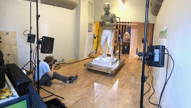 Ezzard Charles statue being scanned