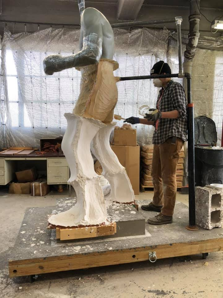 Ezzard Charles statue clay in molds