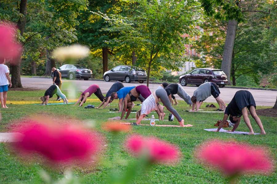 People doing free Cincinnati Yoga at a free wellnes program from Cincinnati Parks Foundation
