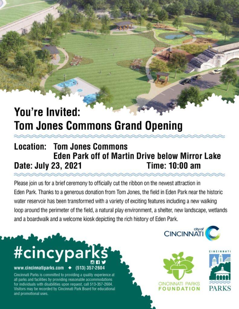 Tom Jones Commons Grand Opeing Invite for July 23 at 10 am in Eden Park