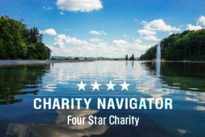 Charity Navigator logo over photo of Cincinnati Park