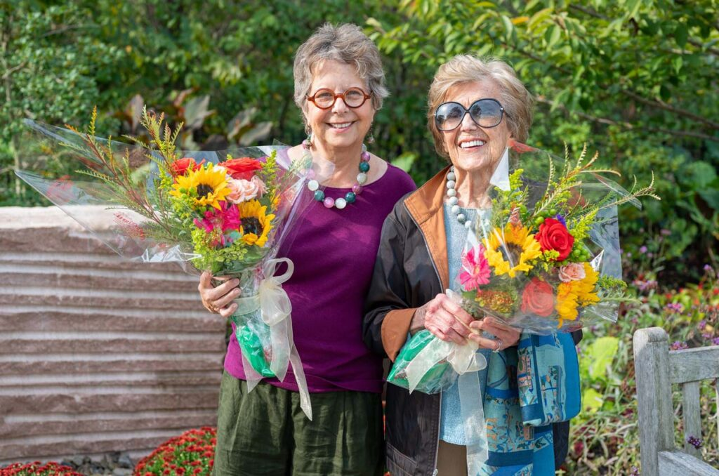 The new sculpture in Ault Park with Artist Marjorie Pease Applegate and Ellen Sole