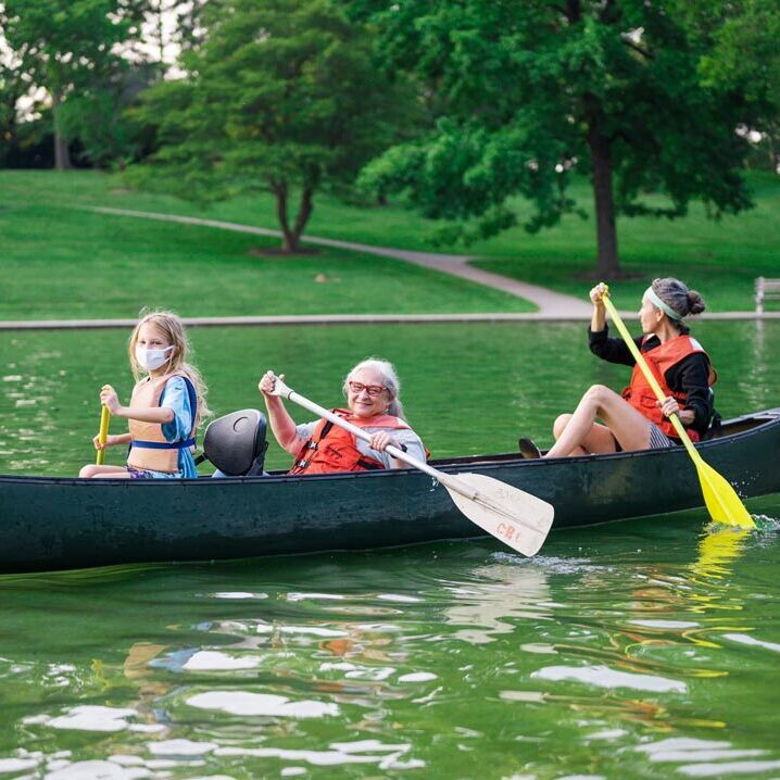 Family canoeing at the CPAC grant program funded event in cincinnati parks