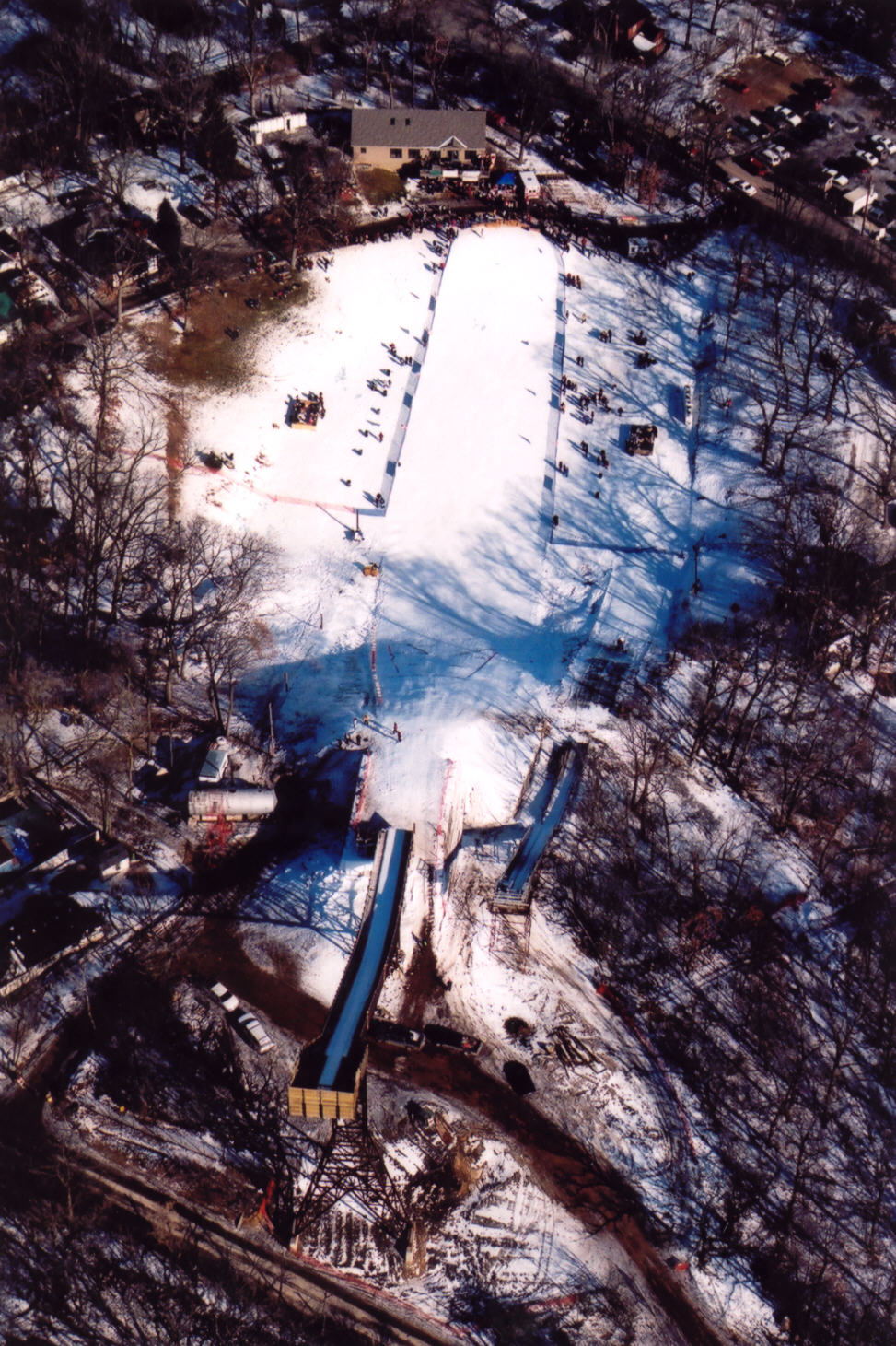 Tower Rental Aerial view of ski jump tower, Fox River Grove, IL