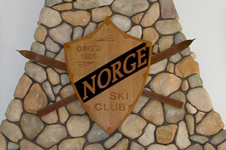 Norge Ski Club Shield on Fireplace