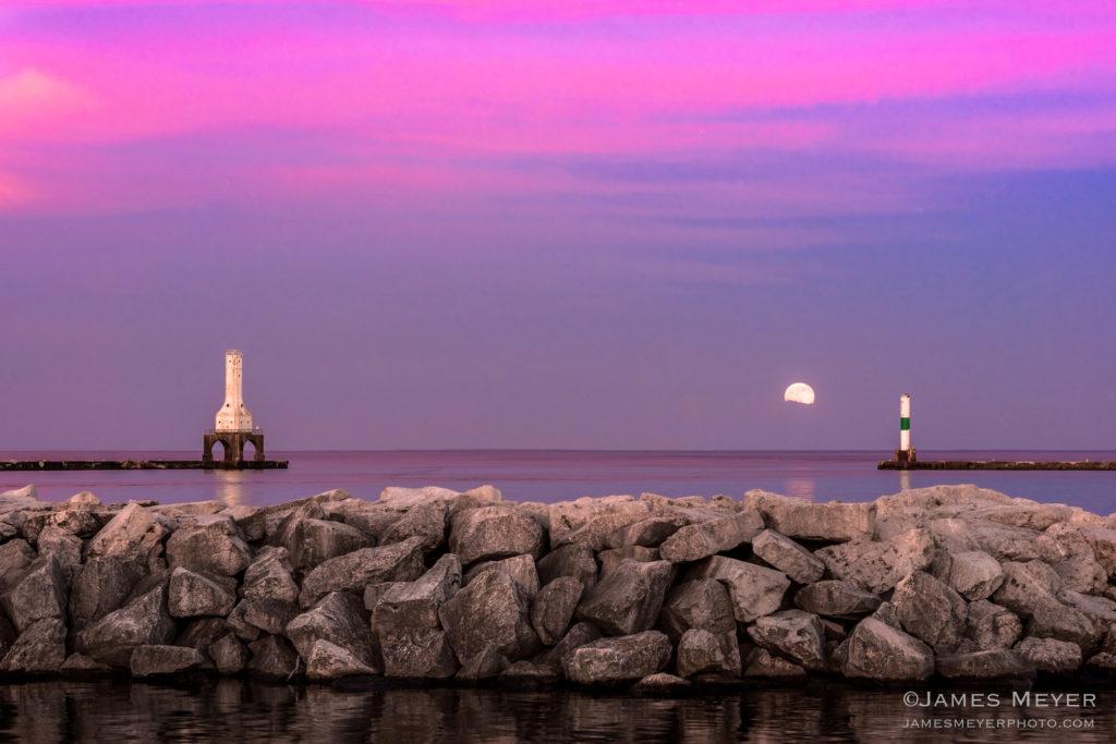 Strawberry moon arives June 20, 2016 featuring the iconic Port Washington WI lighthouse