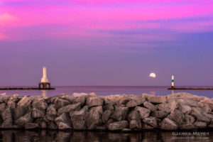 Full moon arives June 20, 2016 featuring the iconic Port Washington WI lighthouse