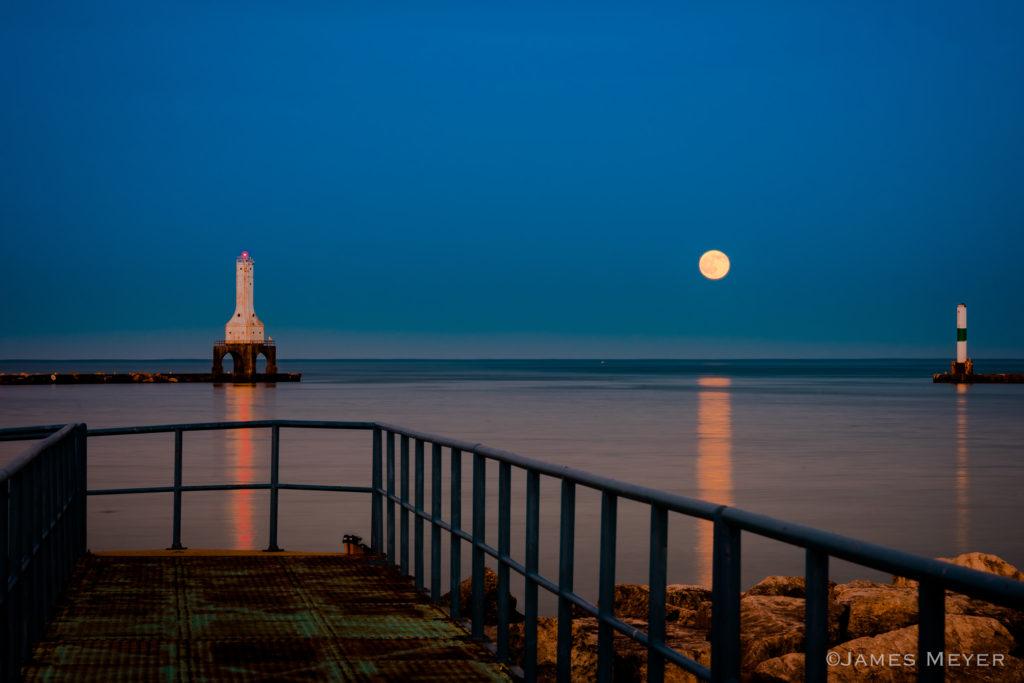 Stawberry full moon as taken from the blue bridge in Port Washington Wisconsin