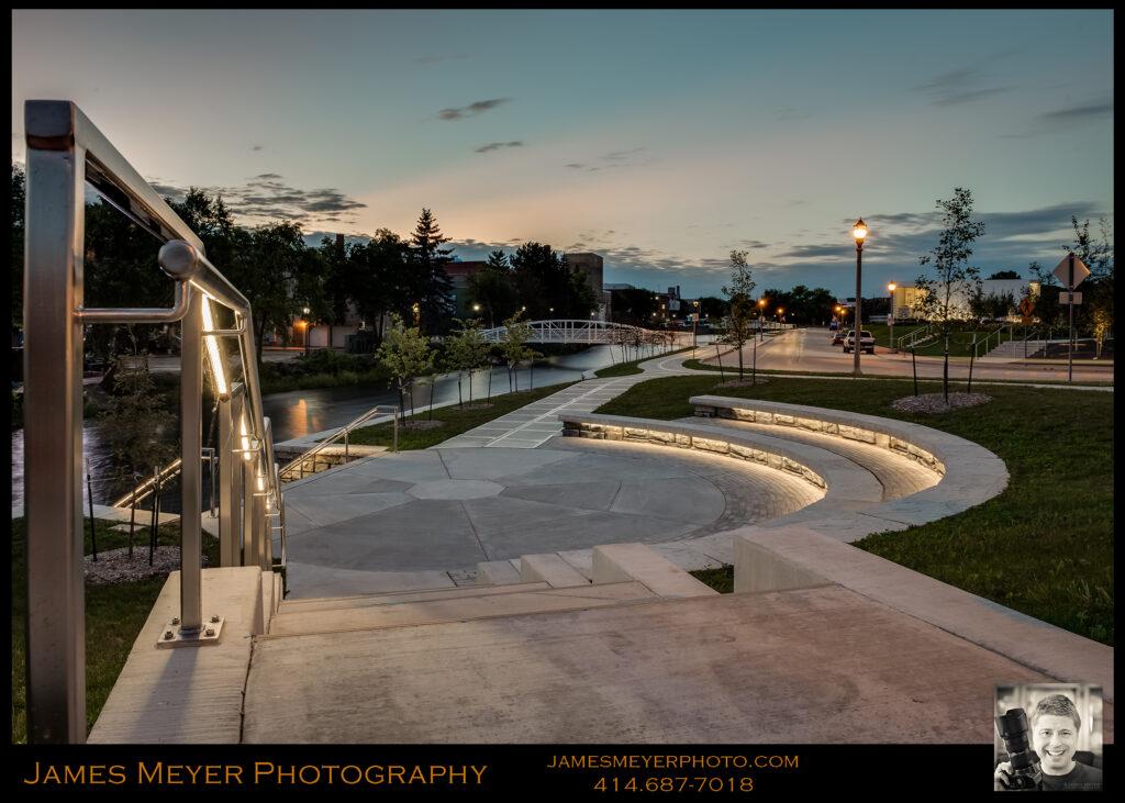 West Bend River Walk at Twilight by James Meyer