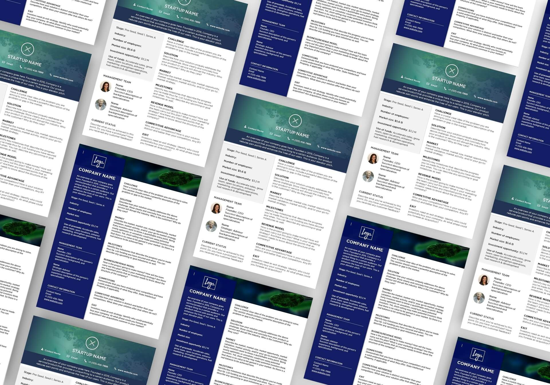 startup one pager templates
