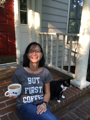 Me in But First Coffee t-shirt.