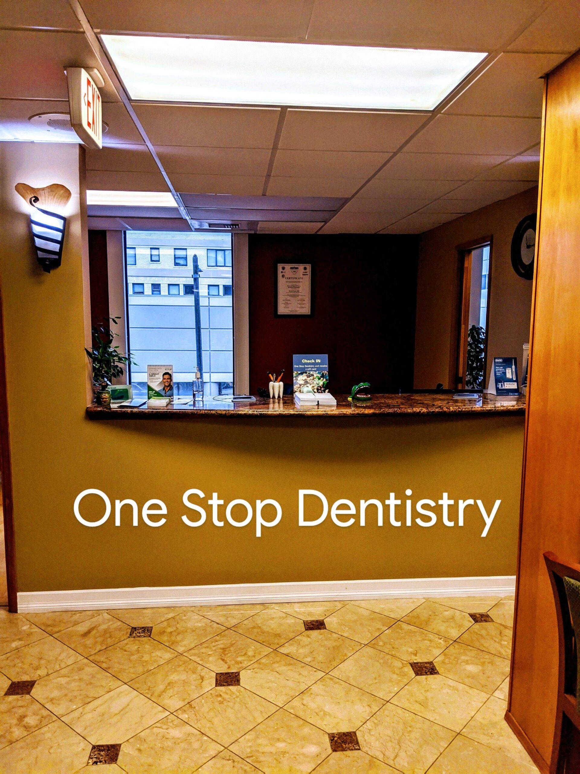 One stop dentistry reception desk