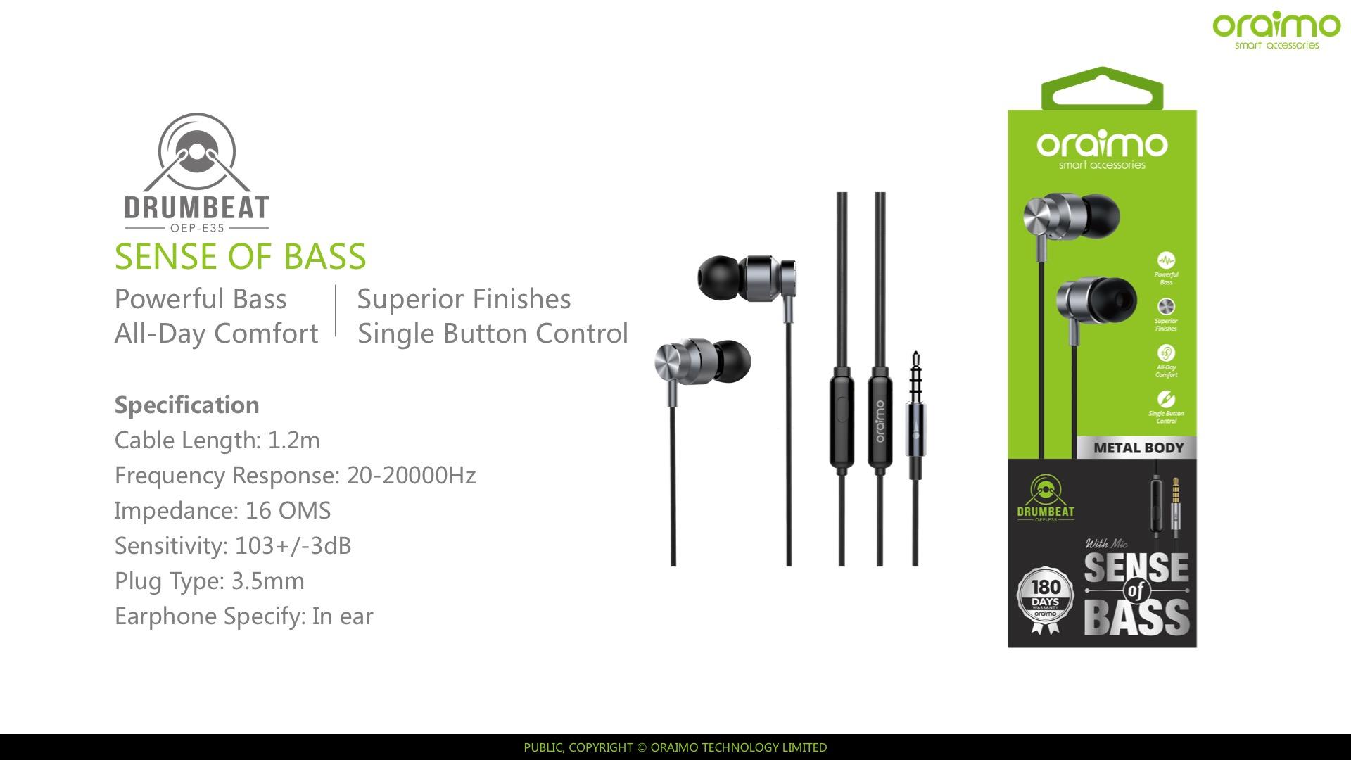 headset oraimo OEP-E35 black