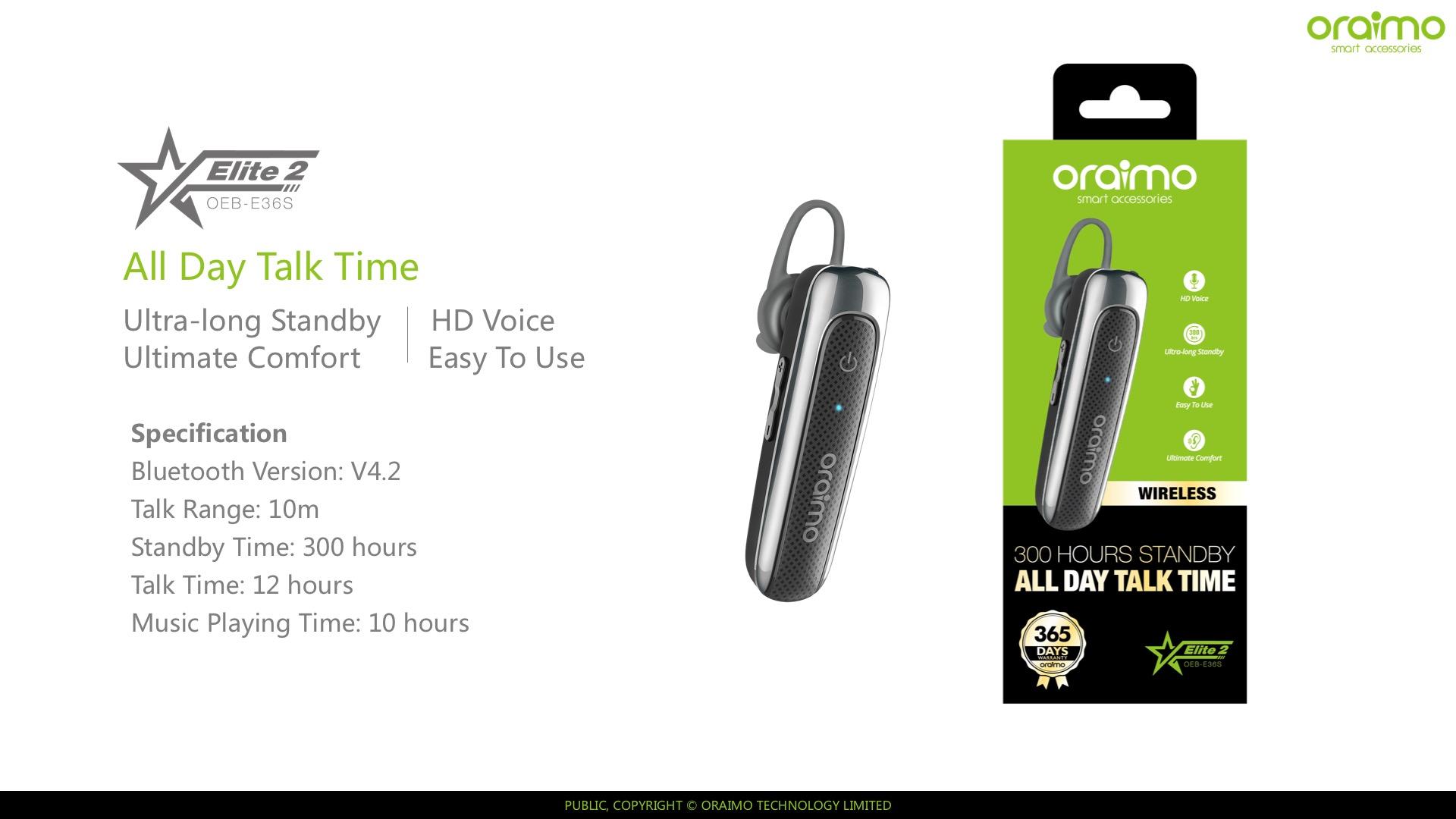 Wireless headset oraimo OEB-E36S dachrome