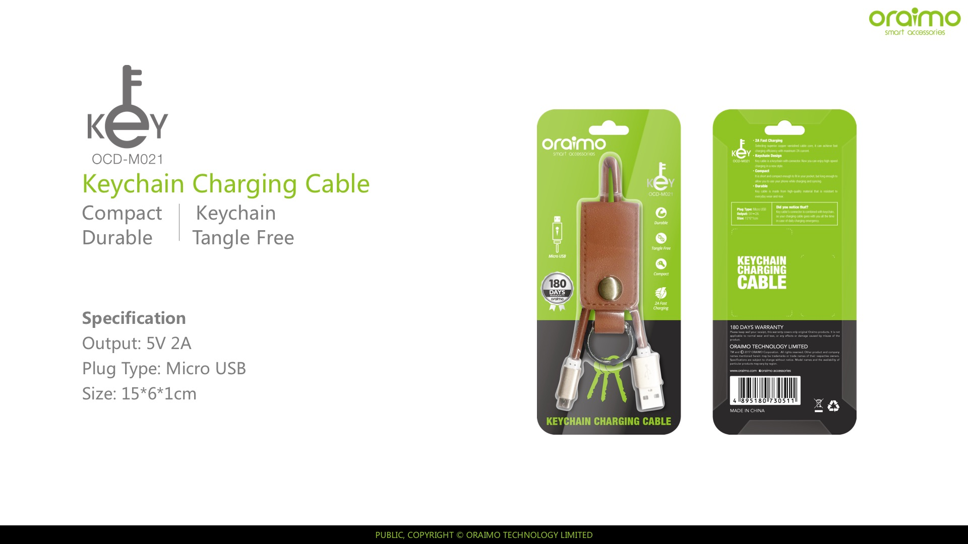 USB cable oraimo OCD-M021 gold