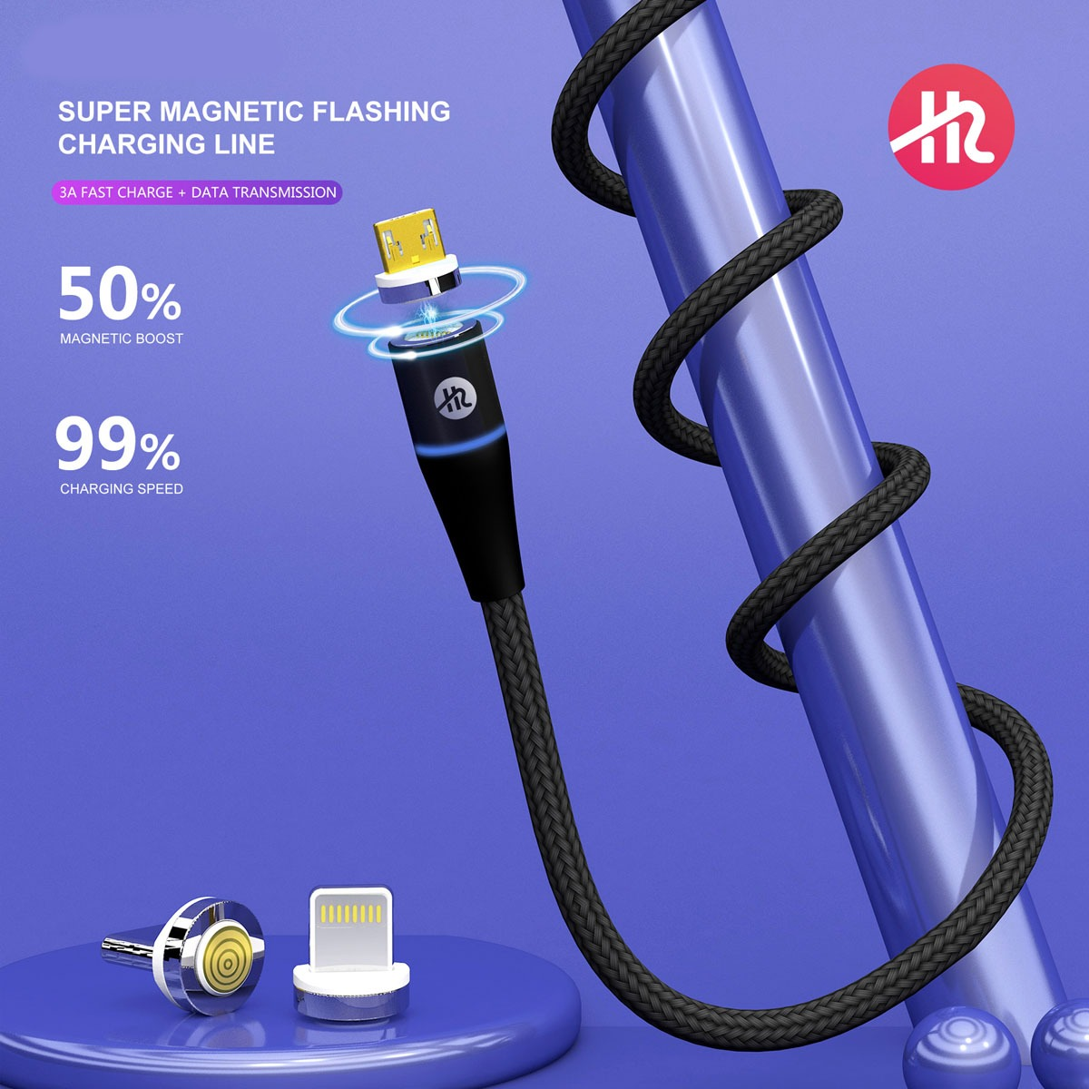 H2 Gadgets 7 Pin Super Fast Magnetic Cable 3in1