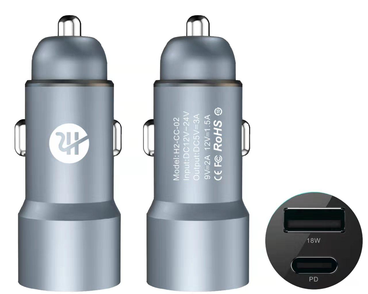 H2 gadgets Dual Car Charger PD+Qc3