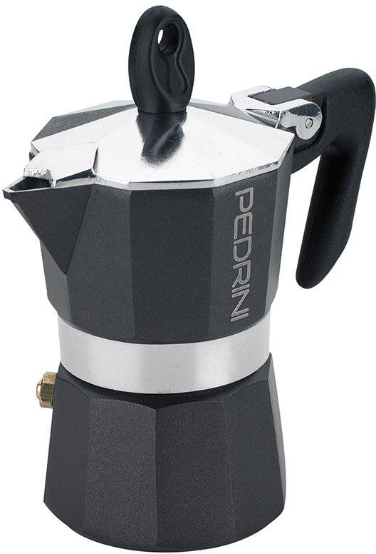 Pedrini Espresso Moka Pot 6 Cup 300 ml Black