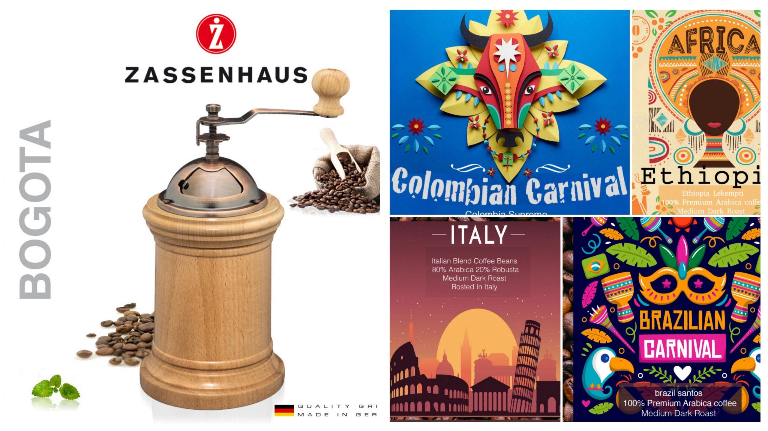Zassenhaus Bogota Coffee grinder + Tostato Coffee 500kg