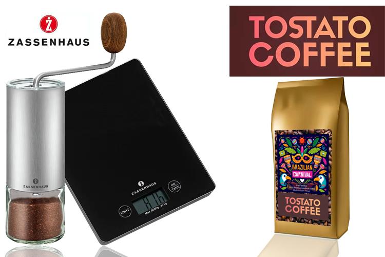 Zassenhaus Coffee grinder quito + zassenhaus scale + Tostato Coffee 100G