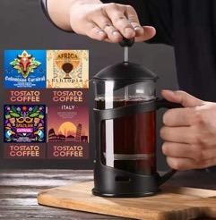 French press 350Ml + Tostato coffee 250X4