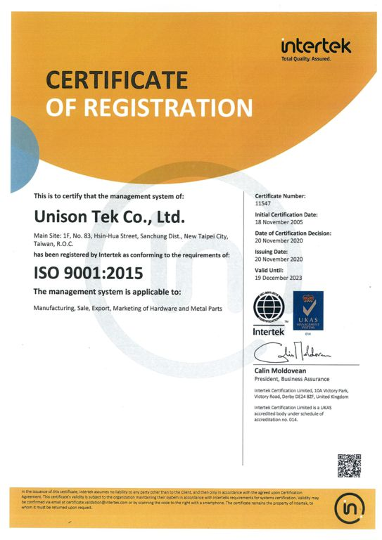 ISO 9001-2015_2020_Unison Tek_1