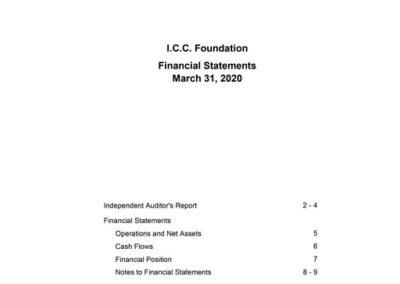 I.C.C. Foundation – Financial Statements March 31, 2020