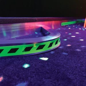 built in obstacles blacklight glow mini golf course portable mobile putt putt
