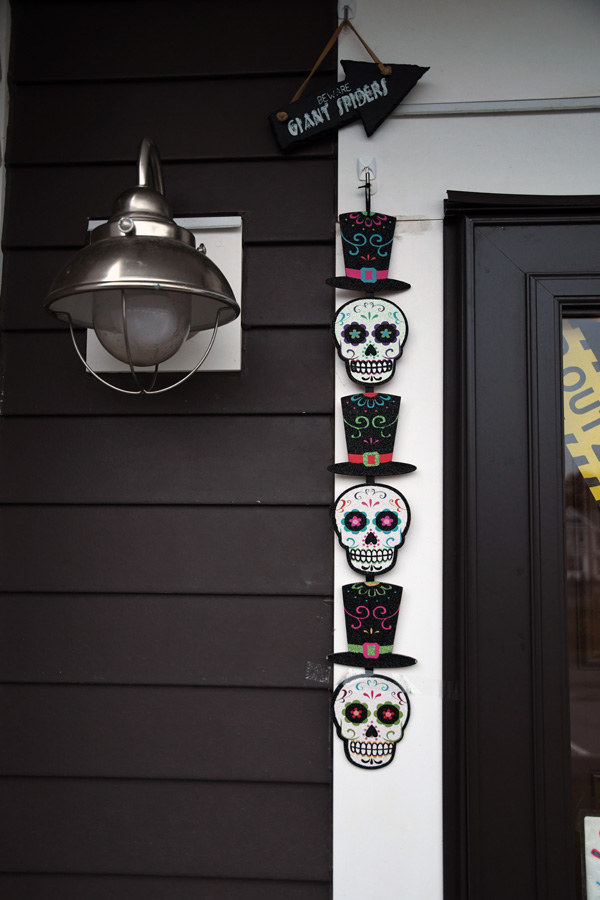 Halloween decorations outside a client's apartment in Bourne.