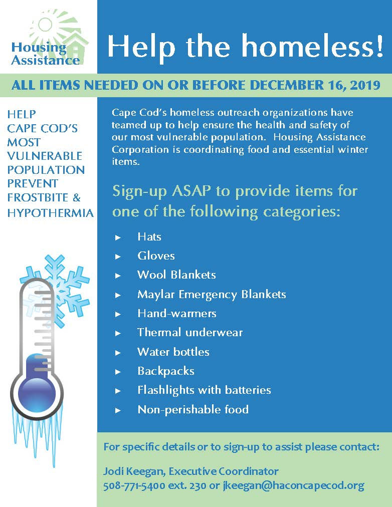 Details on Housing Assistance's winter drive to help the region's homeless.