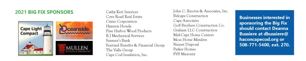 List of 2021 Big Fix sponsors