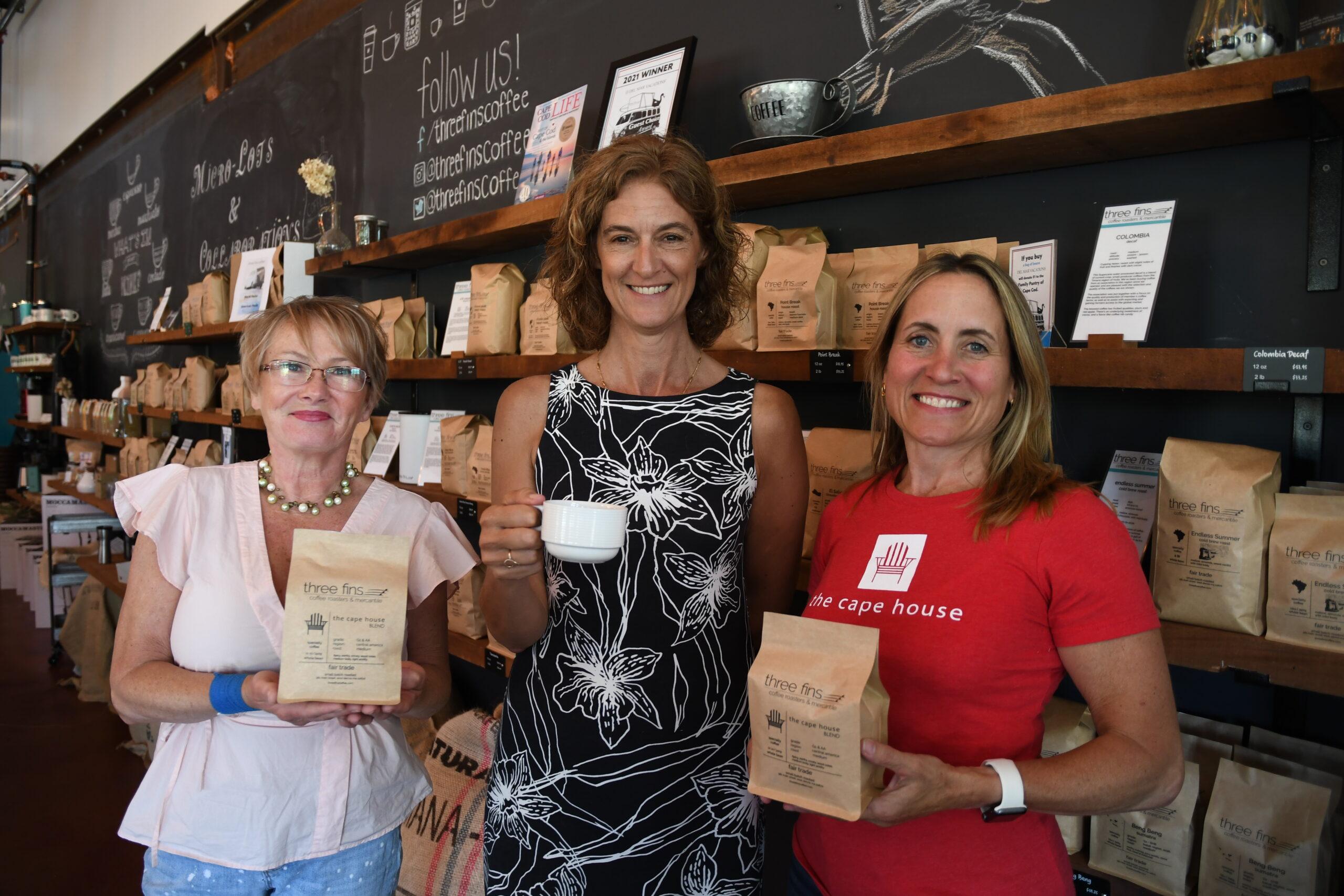 Catherine Bieri, Alisa Magnotta, and Katie Clancy at Three Fins Coffee in Dennis