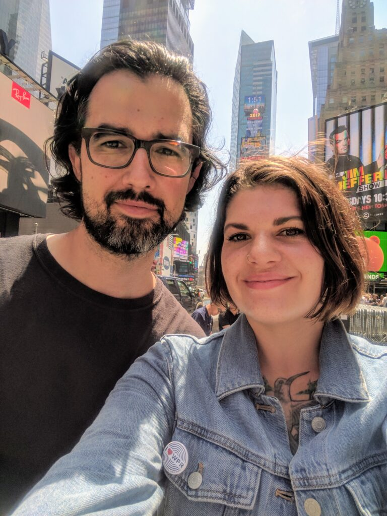 Noël and her partner on a trip to NYC