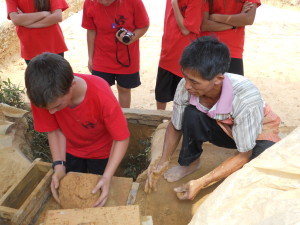 The patient and kind brickmaker taught every student how to make a brick.