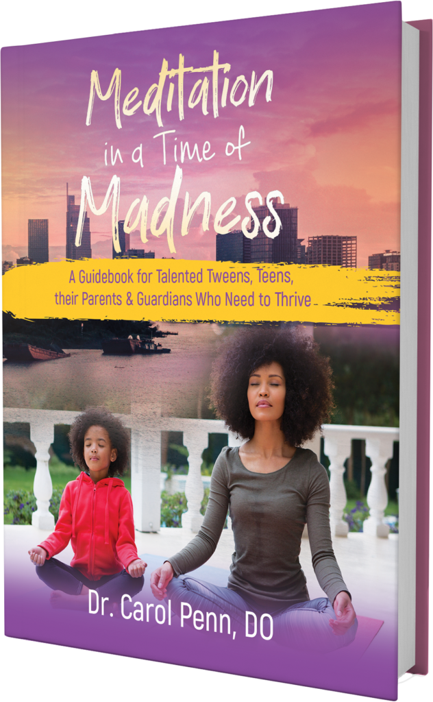 """Excerpt from the Foreword ... Meditation In A Time of Madness is essential reading for you and your family. In her book Dr. Penn teaches """"evidence-based practices from globally proven wisdom and healing traditions.""""  Her topics include meditation, guided imagery, yoga, QiGong, prayer and spiritual development. These are all tools that I personally use and that we share with the WURD Radio family and community. And what I know for sure is that cultivating a sense of mindfulness to harness the power of our mind and heart is absolutely essential. As a parent, businesswoman, community leader and activist, I believe the time for this important book is now and belongs in the home of children from all nations facing the challenges of today.  Sara Lomax-Reese, President/CEO WURD Radio"""
