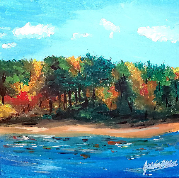 An Autumn Day - Acrylic Painting on canvas by Jessica Brown Art and Fashions.