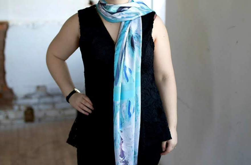 Aqua Coloured Sea - Wearable Art, printed scarves on satin charmeuse and made in Canada.