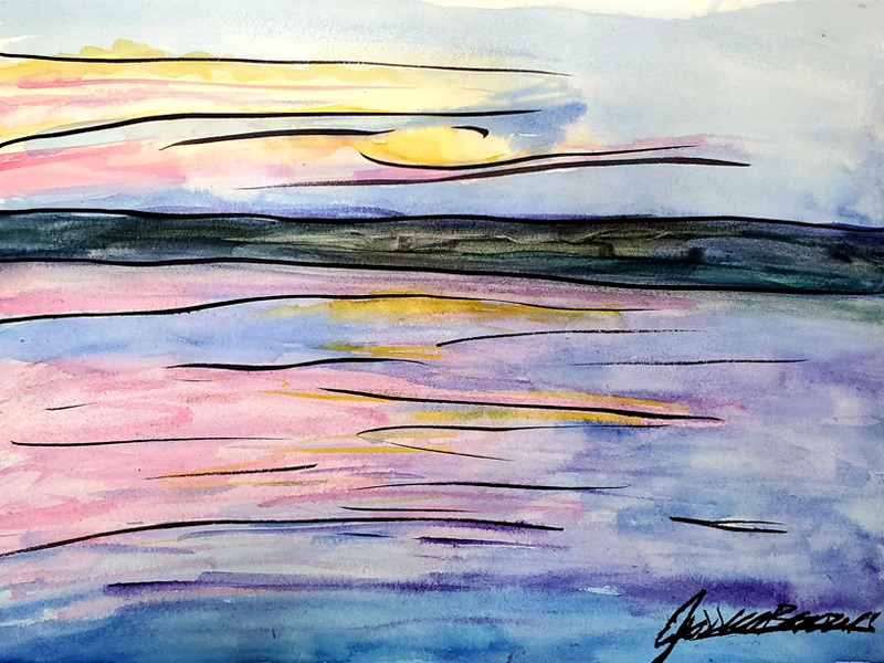 When a Sunset in July Looks Like This - Watercolour on Art Paper, framed