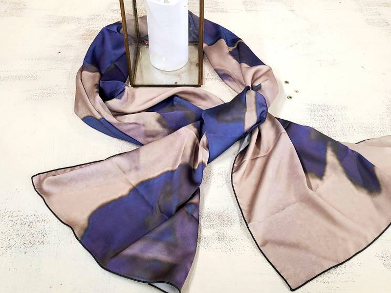 Spring Time - Wearable Art, printed scarves on satin charmeuse and made in Canada.