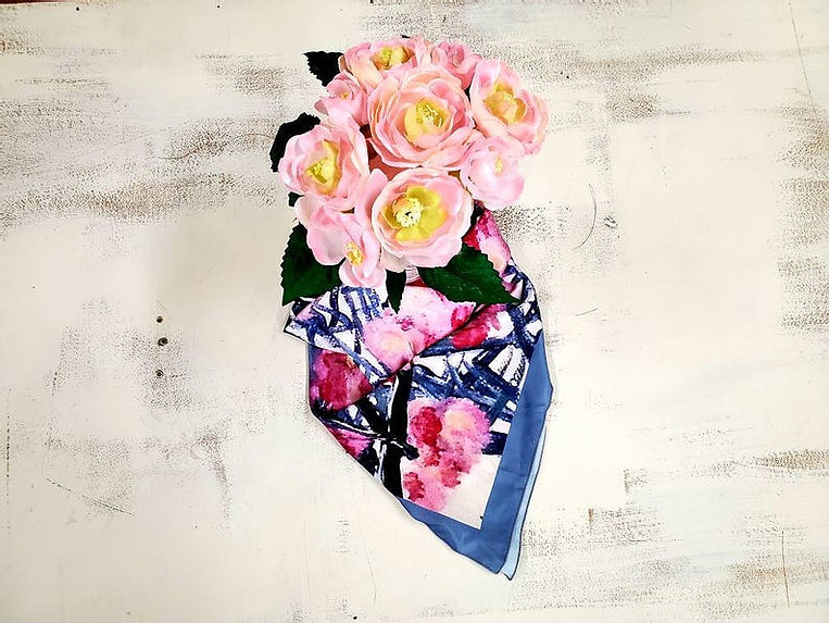 Spring in Paris Square Scarf - Wearable Art, printed scarves on satin charmeuse and made in Canada.