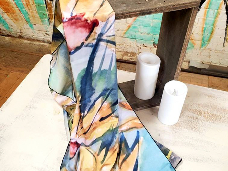 Peaceful Meadow - Wearable Art, printed scarves on satin charmeuse and made in Canada.