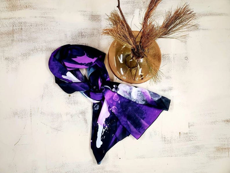 Purple Rain - Wearable Art, printed scarves on satin charmeuse and made in Canada.